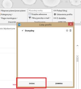 Dodaj nowy profil - screen z MS Outlook