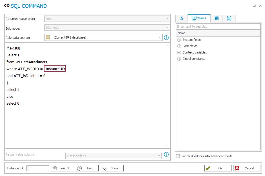 Zapytanie SQL służące do weryfikacji istnienia załącznika