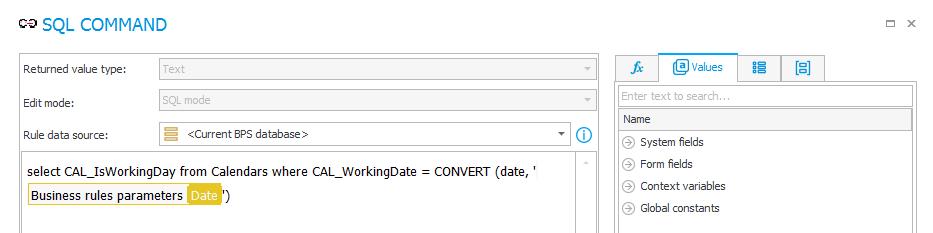Zapytanie SQL służące weryfikujące czy dany dzień jest dniem roboczym