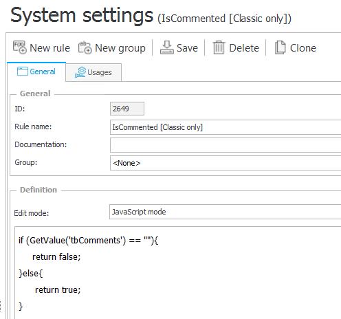 Konfiguracja reguły formularza do weryfikacji uzupełnienia komentarza