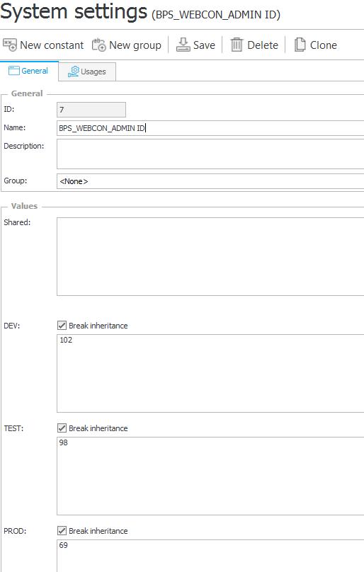 Przykład konfiguracji stałej zwracającej ID grupy SharePoint BPS_WEBCON_ADMIN