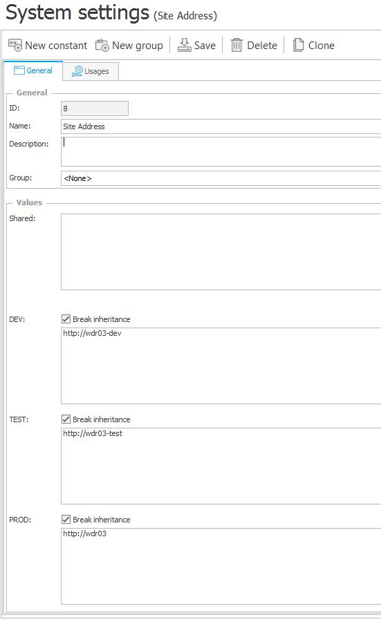 Przykład konfiguracji stałej zwracającej adres witryny