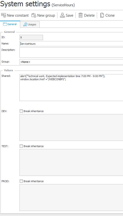 Przykład konfiguracji stałej zawierającej kod JavaScript