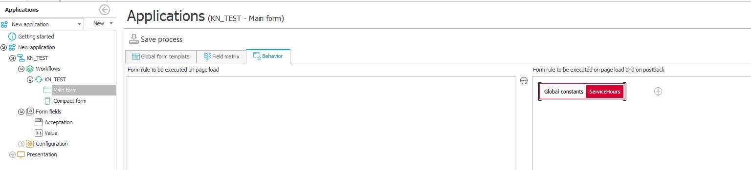 Przykład konfiguracji zachowania formularza
