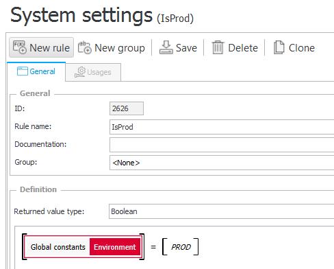 Konfiguracja reguły biznesowej IsProd