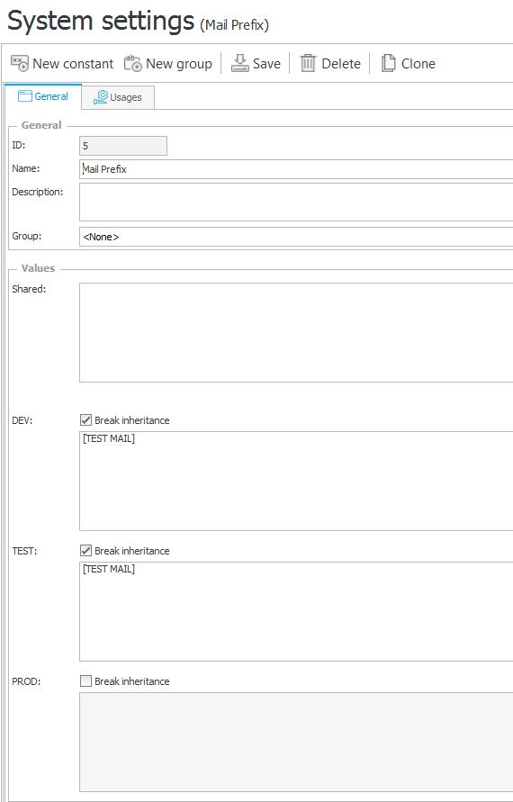 Przykład konfiguracji stałej zwracającej prefix dla tytułu maila