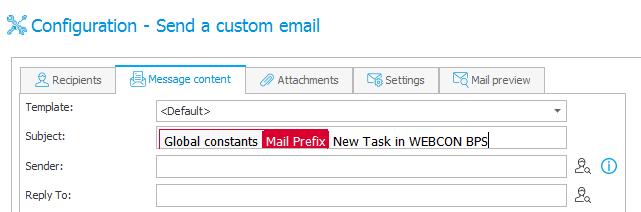 Przykład konfiguracji akcji wysyłki konfigurowalnego maila