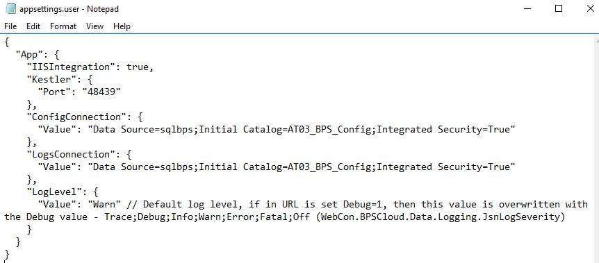 Rys. 4. appsettings.user.json dla połączenia z autentykacją loginem zintegrowanym