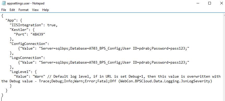Rys. 4. appsettings.user.json dla połączenia z autentykacją loginem SQL