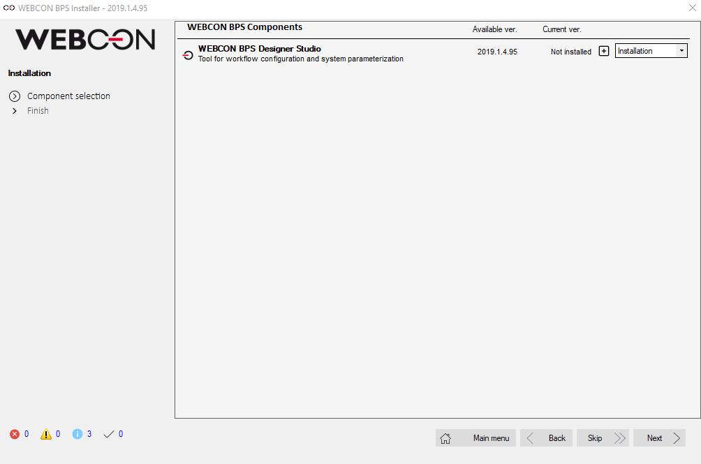 Rys. 1. Sprawdzenie wersji WEBCON BPS Designer Studio