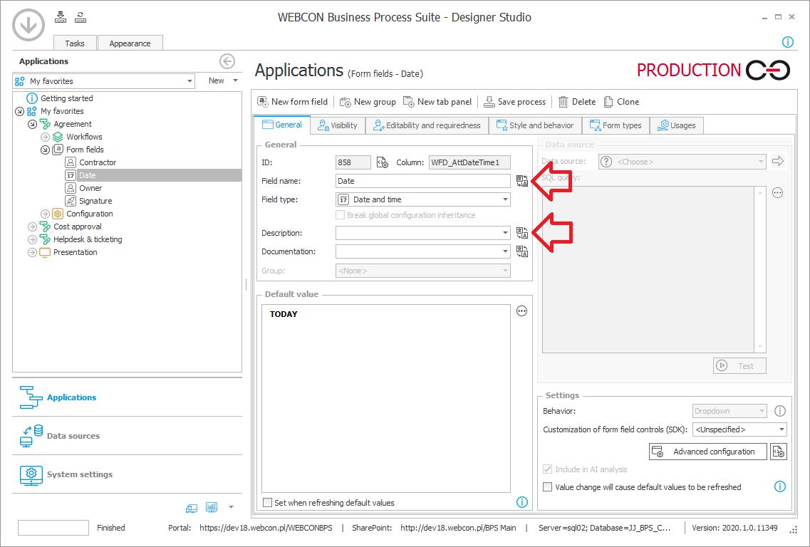 Rysunek 1. Dodawanie tłumaczenia obiektów konfiguracji, takich jak nazwa procesu, formularza czy atrybutu