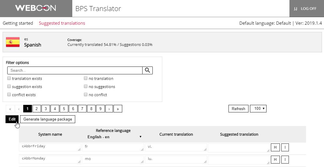 Rysunek 10. Wprowadzanie tłumaczeń jest możliwe po kliknięciu na przycisk Edit. Wprowadzone zmiany są na bieżąco zapisywane