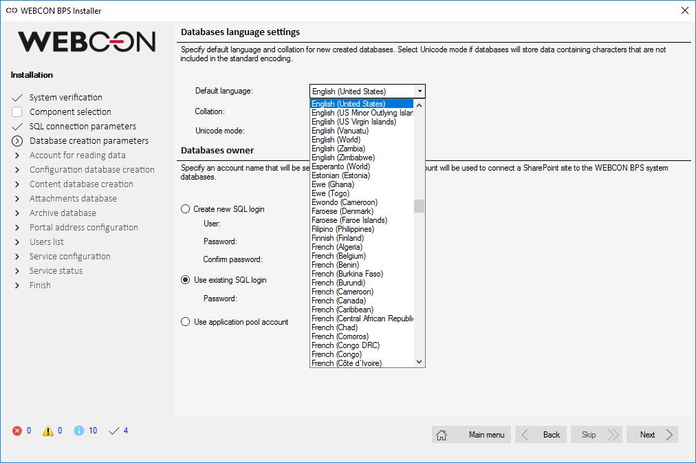 Rysunek 5. Definiowanie domyślnego języka konfiguracji za pomocą instalatora BPS