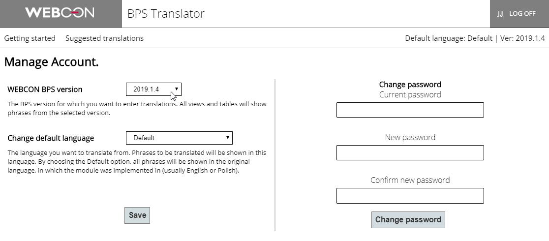 Rysunek 8. Panel do zarządzania kontem. Można tu zdefiniować wersję systemu, dla której będą wprowadzane tłumaczenia.
