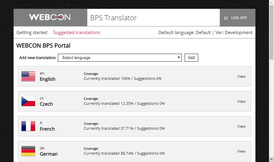 Rysunek 2. BPS Translator, widok listy dostępnych do tłumaczenia pakietów językowych