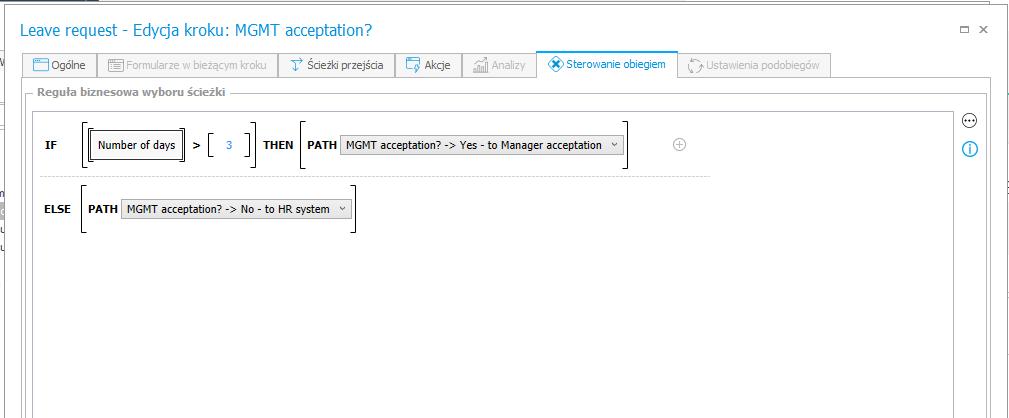 """Rys. 7 Konfiguracja sterowania obiegiem na kroku """"MGMT acceptation?"""""""
